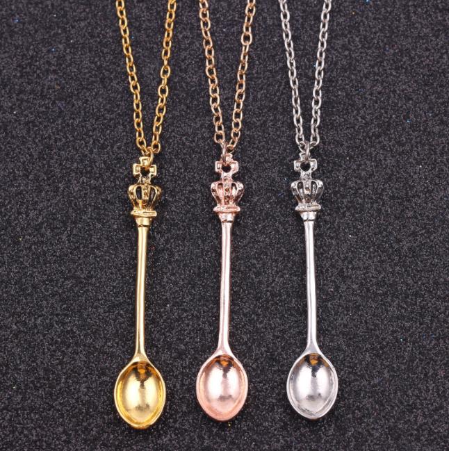 Spoon Pendant  Necklce Ibiza Festival Mini Silver Colour Chain x 1