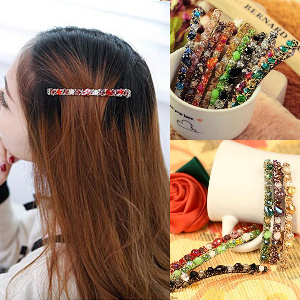 1Pcs Crystal Leopard Hair Clip Hairband Bobby Stick Hairpin Hair Accessories