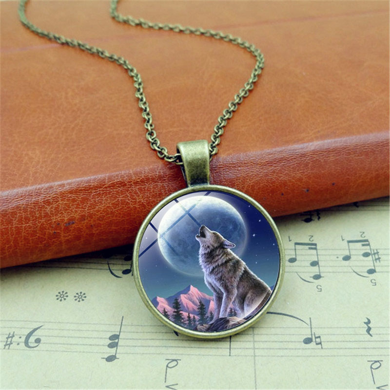 Wolf Face Photo Cabochon Glass Tibet Silver Chain Pendant Necklace