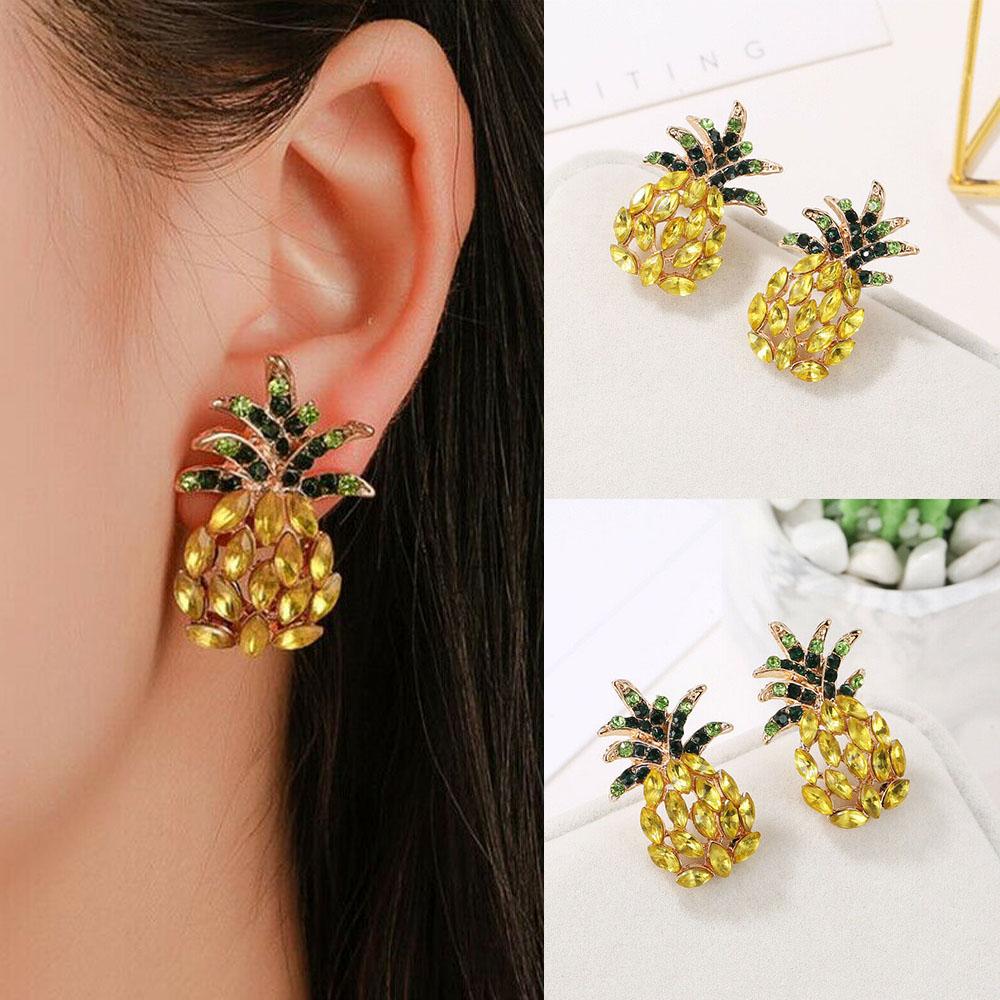1 Pair Women Fashion Pineapple Fruit Drop Dangle Gold Ear Hook Earrings Jewelry