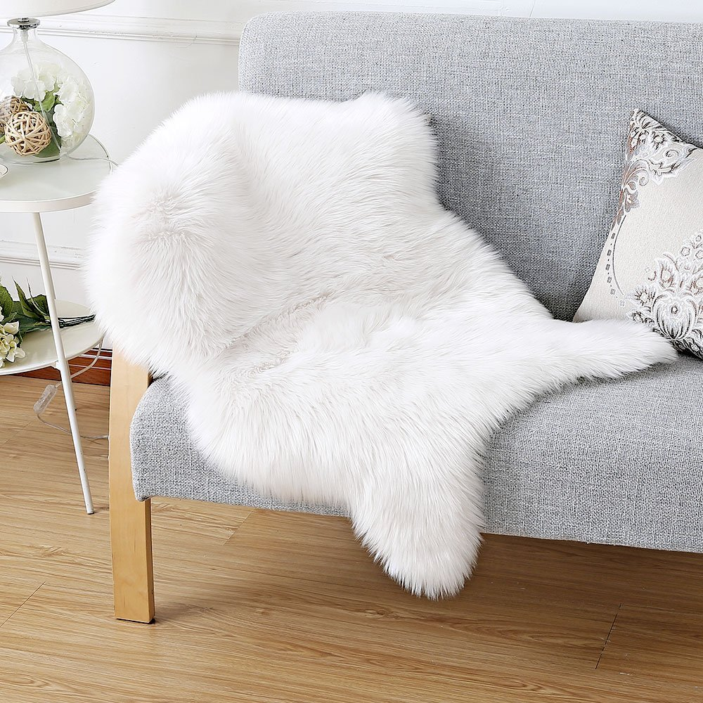Luxury Faux Sheepskin Chair Cover Fur Rug Seat Fluffy Hairy Mat