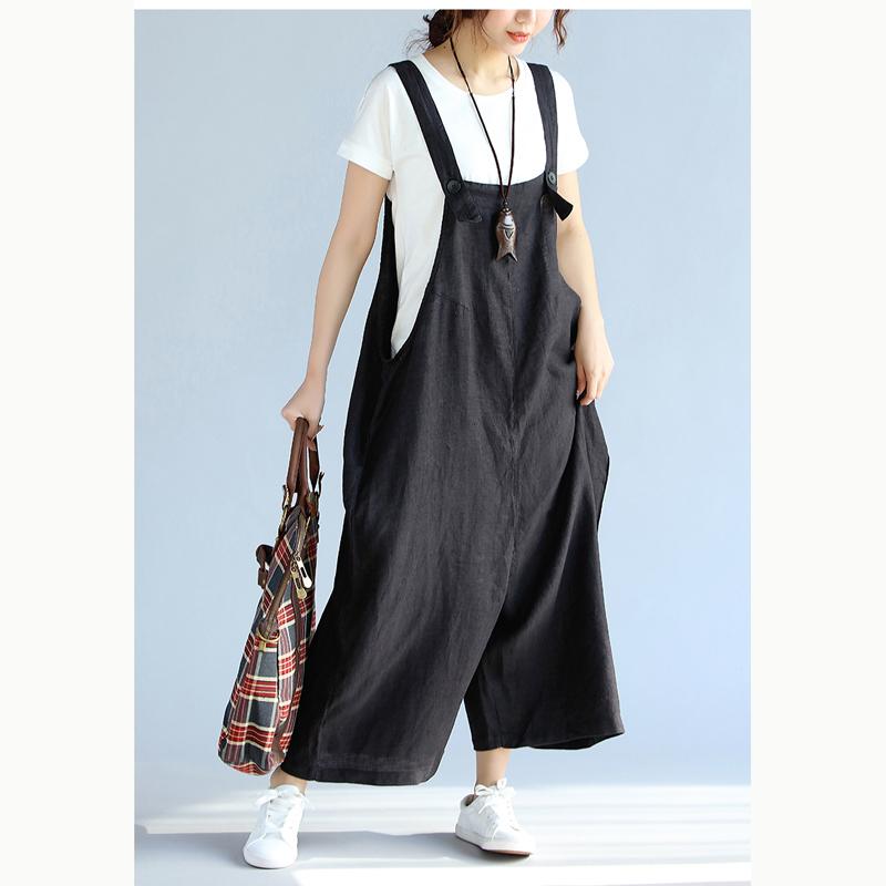 Plus Size Womens Cotton Linen Baggy Overalls Jumpsuits Bib Pants