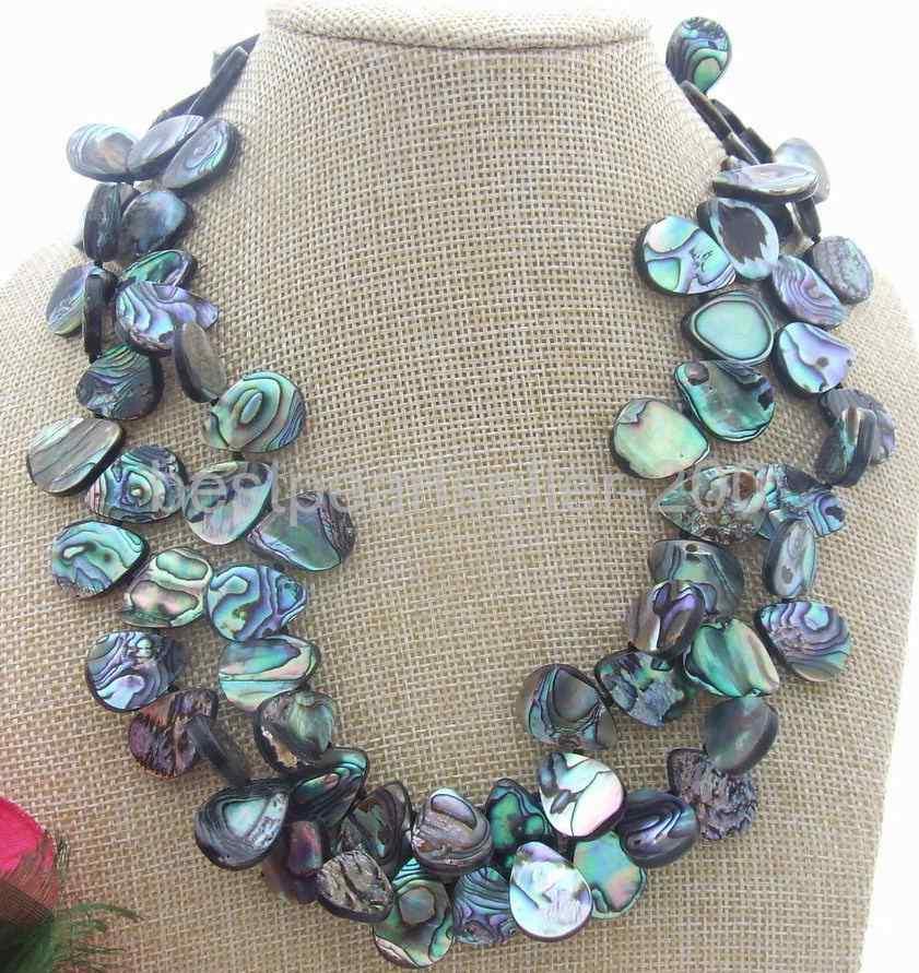 Fashion Women Men Natural Paua Abalone Shell Geometric Pendant Necklace Jewelry