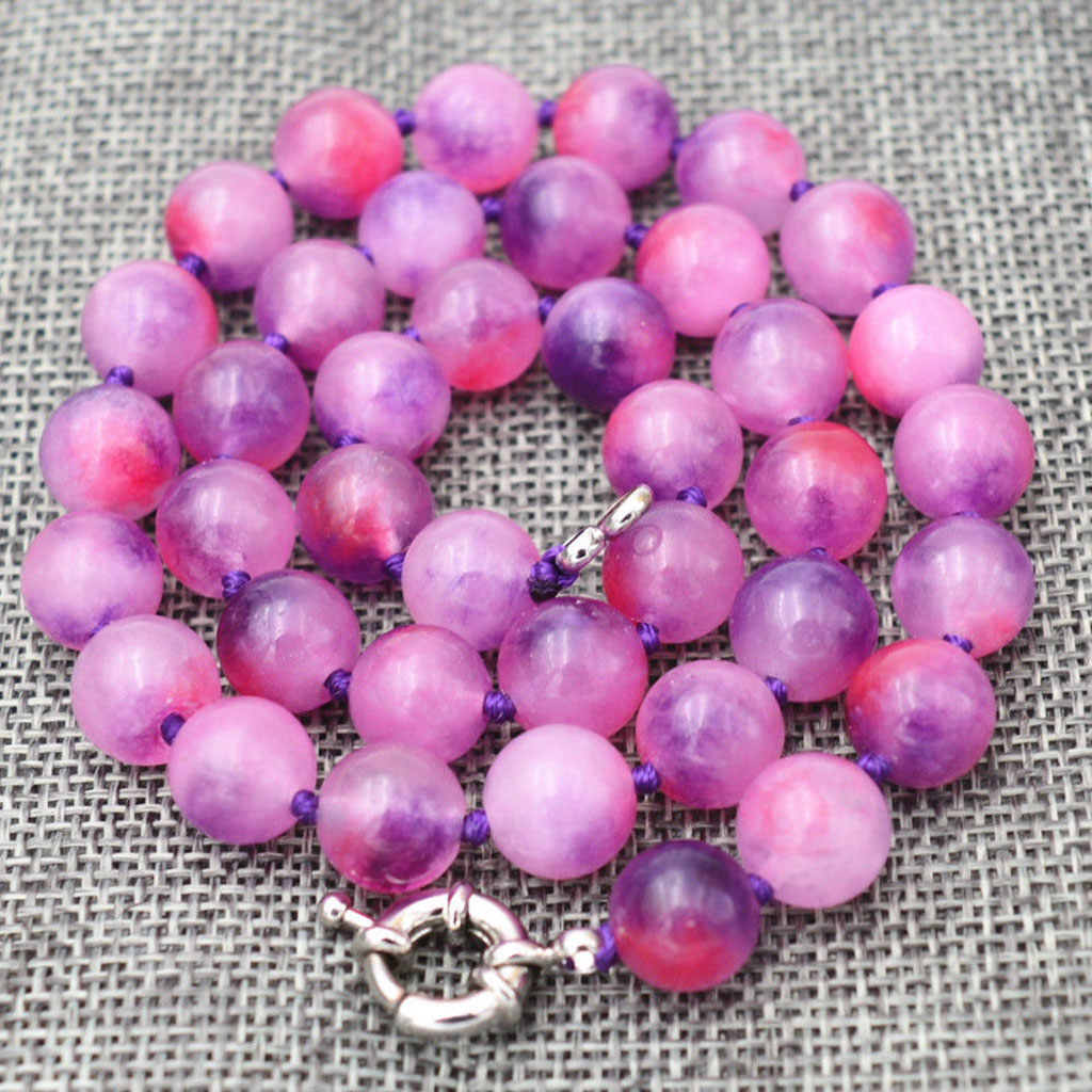 """new  Hand Knotted 10mm multicolor jade gemstone Round bead necklace 18 /"""""""