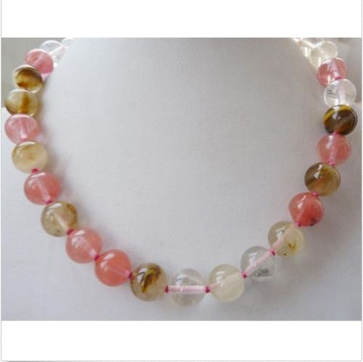 10mm Faceted Watermelon Tourmaline Gem Necklace 18inch
