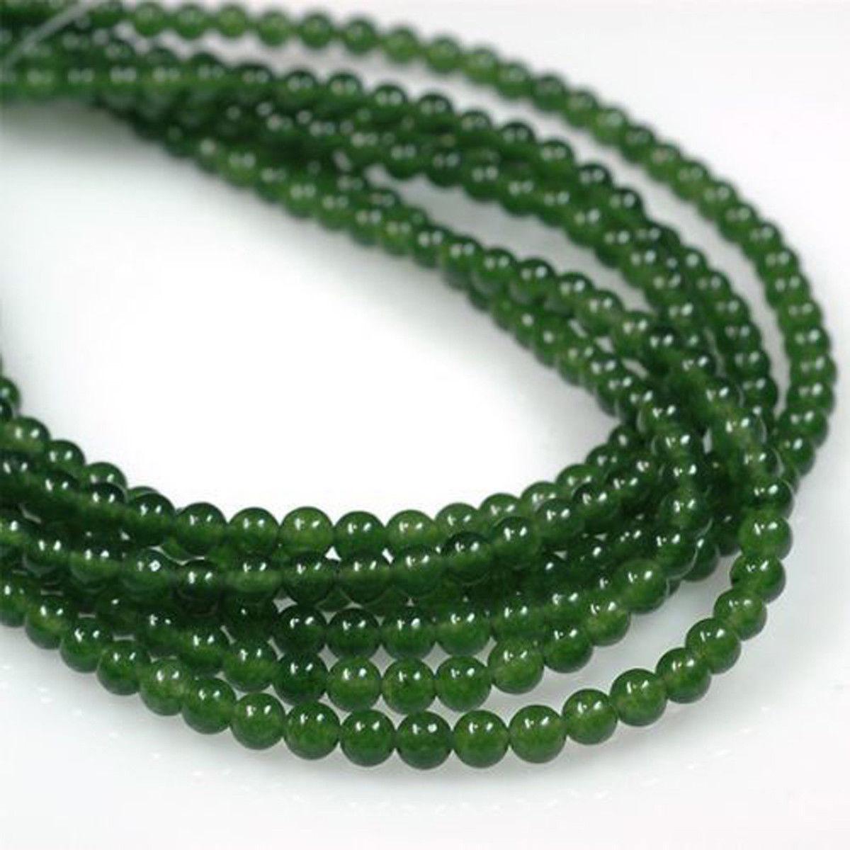 Genuine Jade Beads: Natural Genuine 6mm Green Nephrite Jade Beads Loose Beads