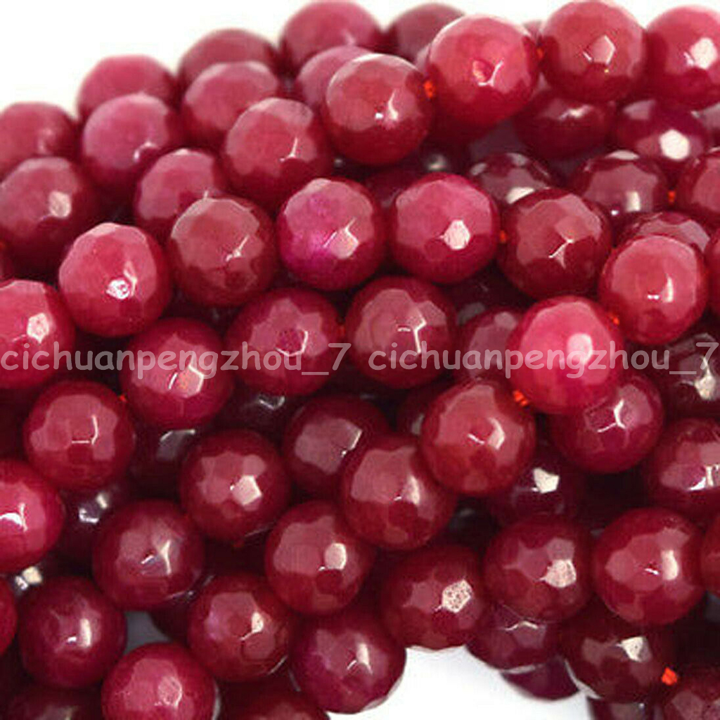 """Natural New 6//8//10mm Faceted Red Ruby Round Gemstone Loose Beads 15/"""" AAA"""