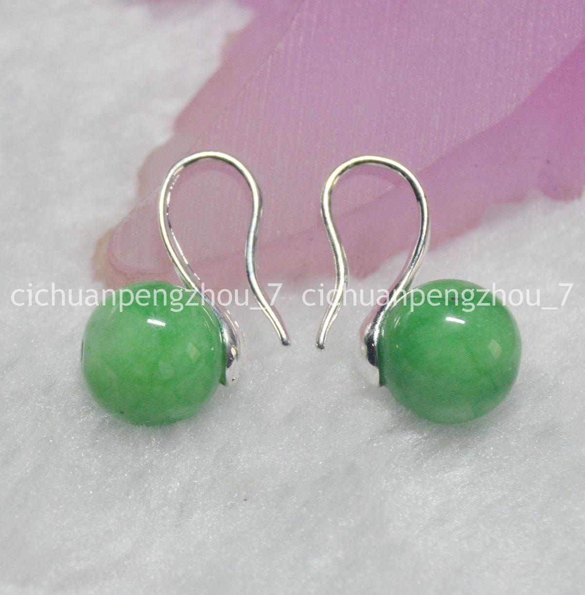 AA 10 mm Naturel Round Peridot Gemstone Beads silver Hook Dangle Earrings