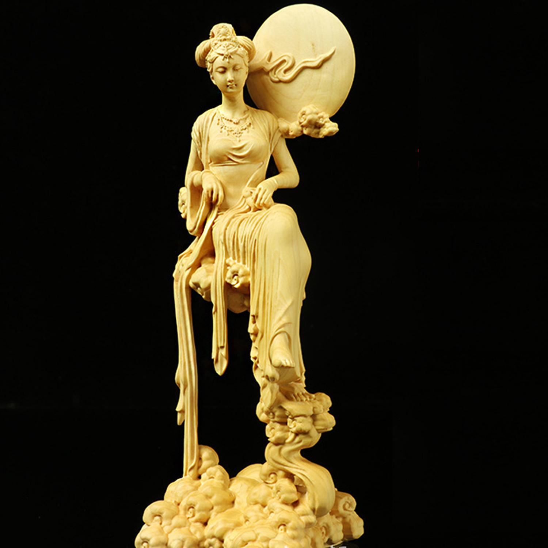 China Boxwood Wood Carving Belle Chang/'e Moon Statue Mythological Figure Statue