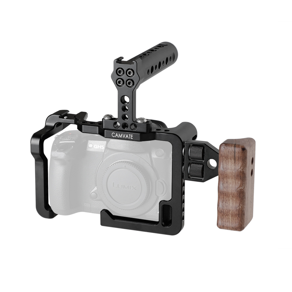 CAMVATE Full Cage Rig Wooden Top Handle 2xCold Shoe Mount For DSLR Panasonic GH5