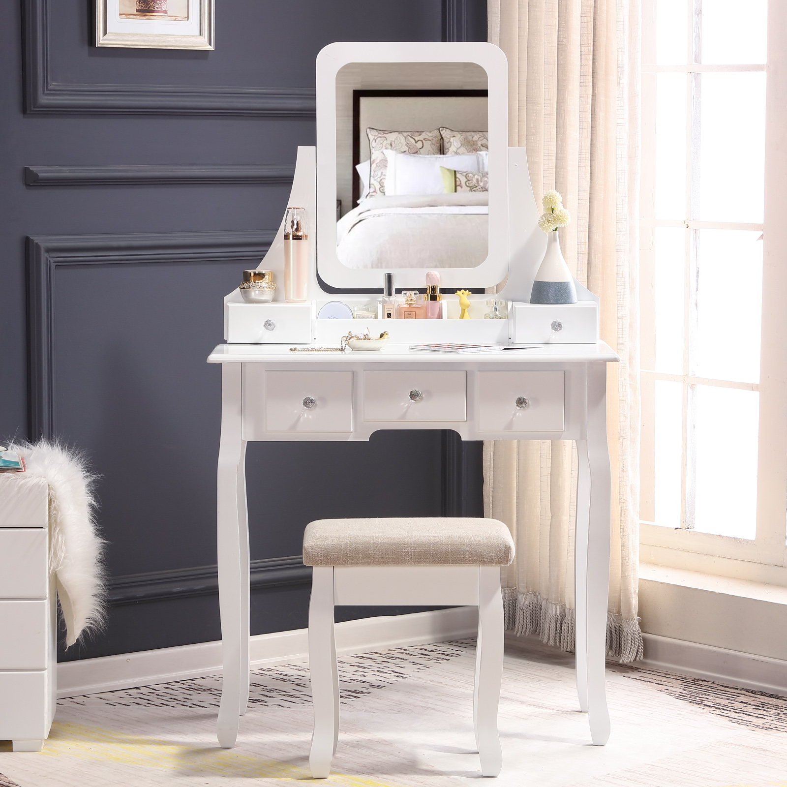 Swell Details About White Vanity Table Rotatable Mirror Soft Stool Set 5 Drawer 3 Compartments Home Caraccident5 Cool Chair Designs And Ideas Caraccident5Info