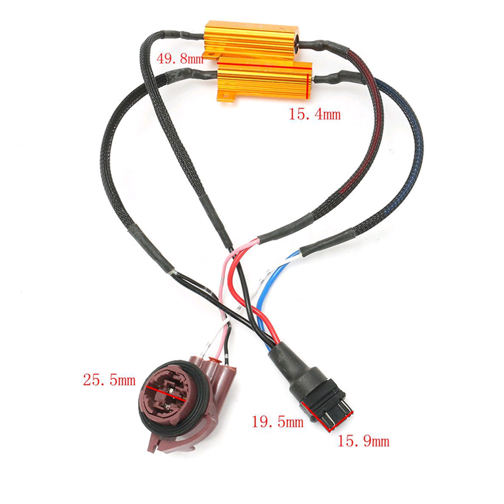 3157 Wiring Harness Library Socket Diagram 2pcs 50w Led Error Free Canbus Fog Load Resistors Decoder
