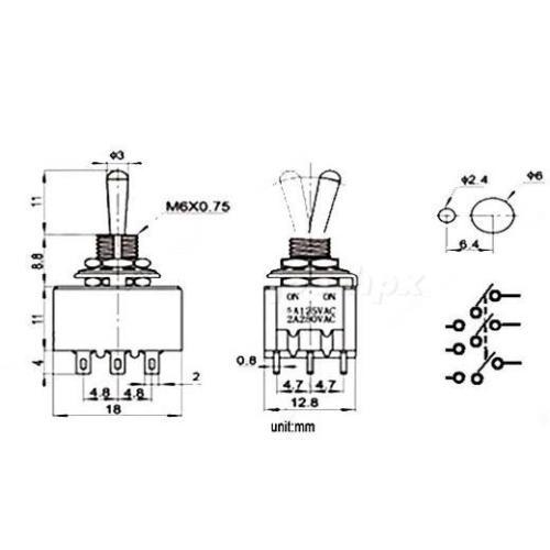 1PCS Interruptor de palanca MTS-402 4P2T ON-ON 12 Pines 2 posiciones 6A//125VAC 2A//250VAC