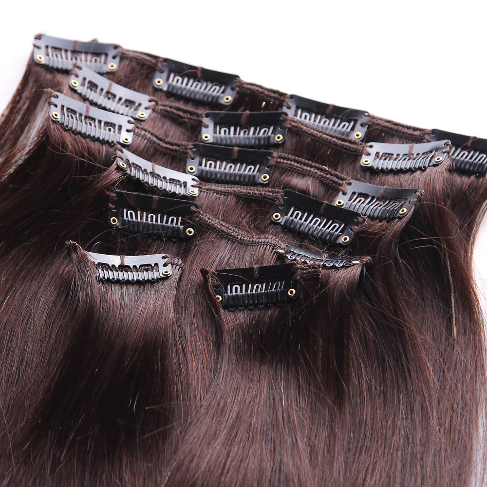 Clip In 100 Human Hair Extension Women Thick 30inch 2 Dark Brown