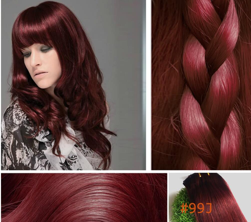 99j Red Wine Burgundy Clip In 100 Remy Real Human Hair Extensions