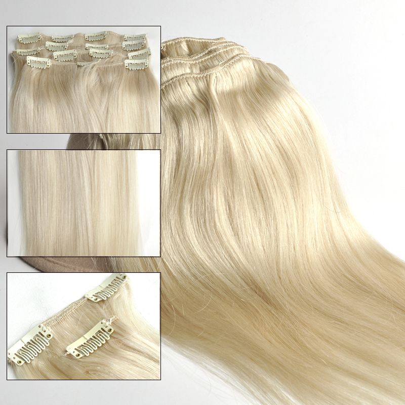 Clip In 100 Real Human Hair Extensions Blonde Straight 60 7pcsset