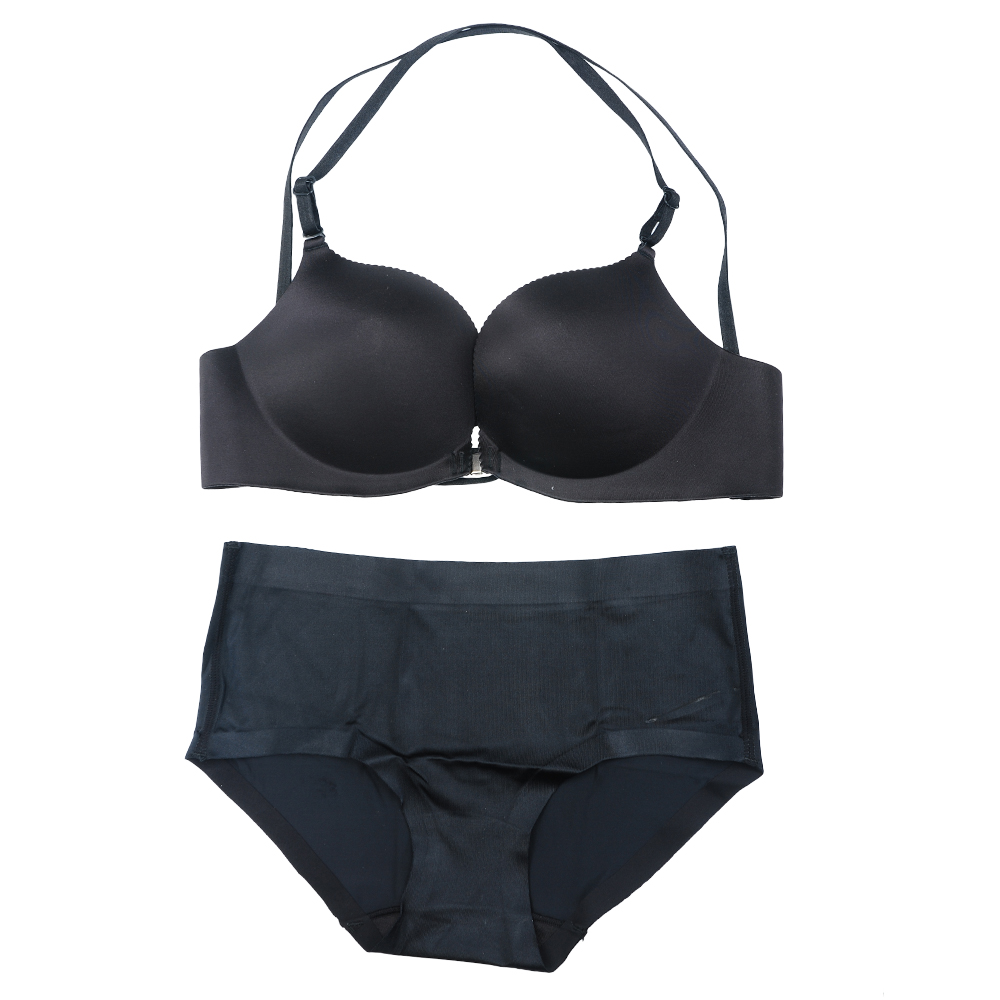 Underwear Bra and Panty Set Wire-Free Cross-Back Bras Front Close ...