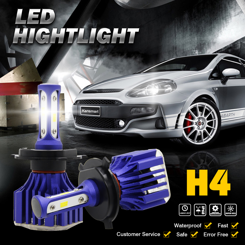 2x H4 9003 HB2 18000LM LED 180W Light Headlight Hi/Low White Beam ...
