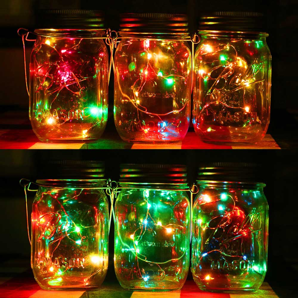 3 Pack 10 LED Fairy Light Solar Mason Jar Lid Lights Color ...