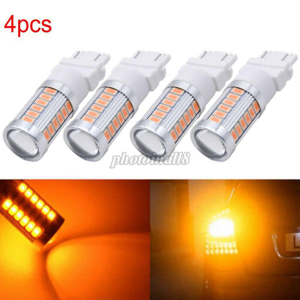 2pcs 3157 3156 3057 33LED Amber Car Tail Backup Reverse Turn Signal Light Lamps