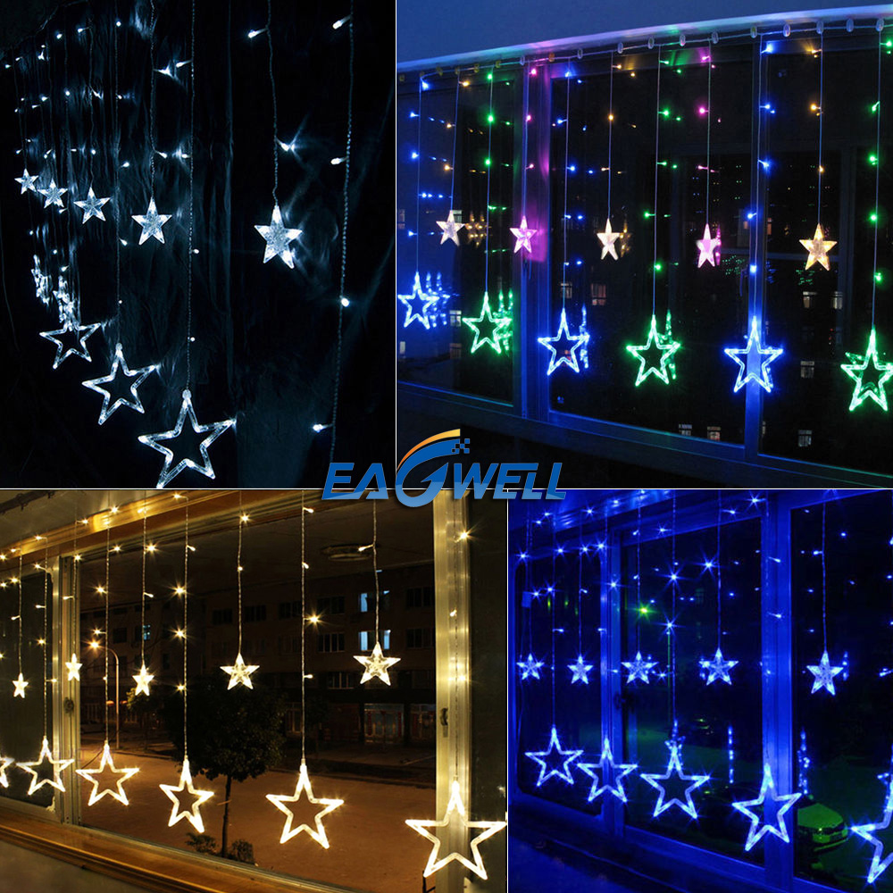 Led Outdoor Party String Lights: 138 LED 12 Hanging Stars Fairy String Lights Indoor