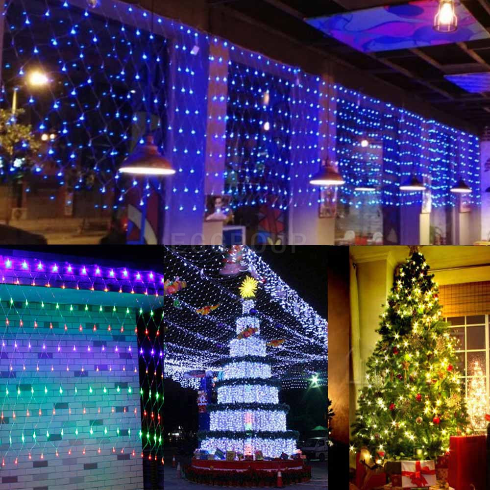 waterproof led nets mesh fairy string party light lamp xmas christmas tree decor