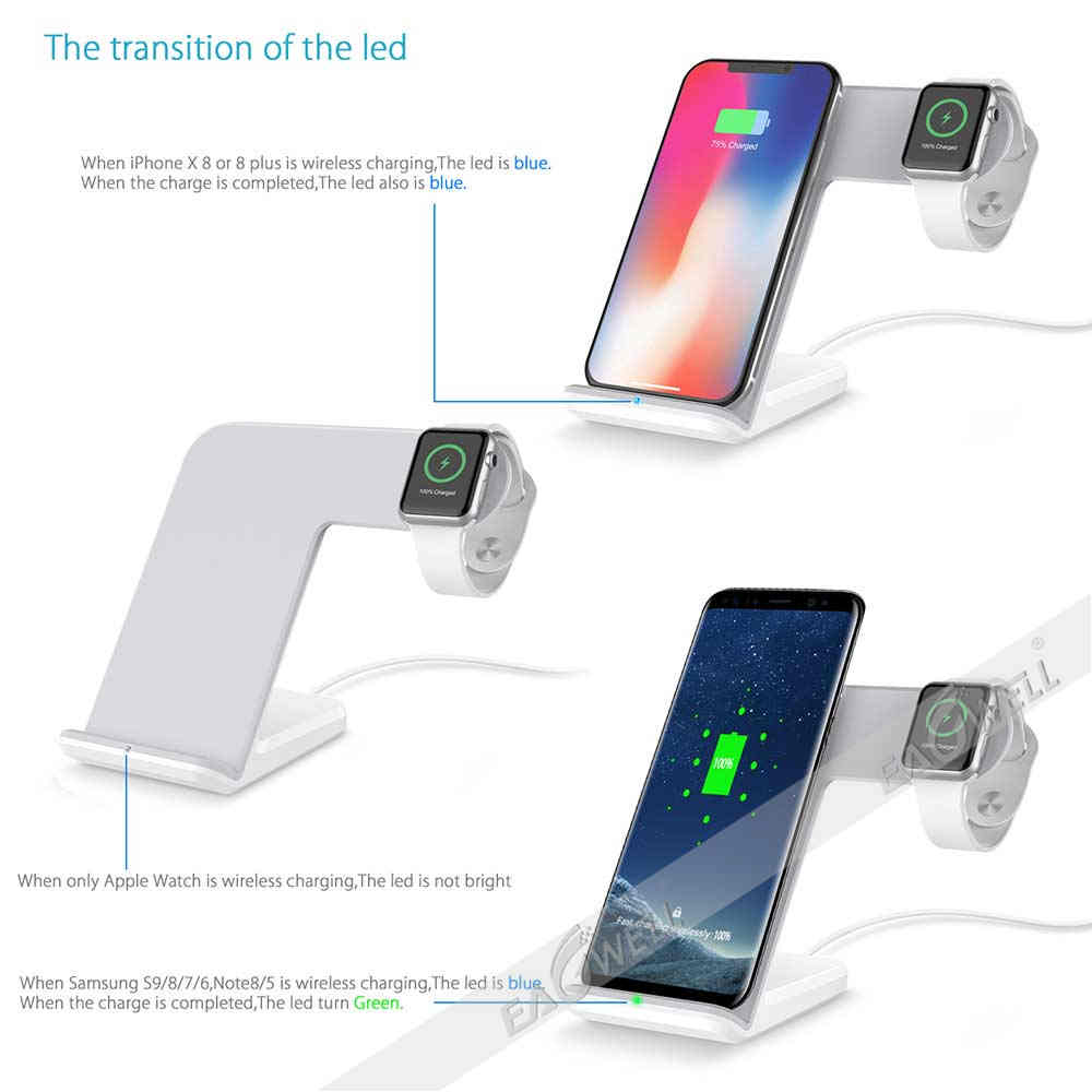 for iphone xs max xr x 8 plus 2in1 qi wireless fast. Black Bedroom Furniture Sets. Home Design Ideas