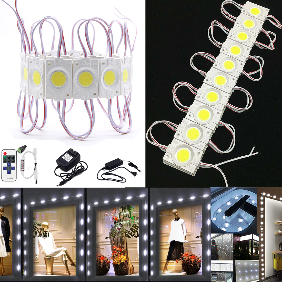 70 FT 5050 3 Storefront Window Super Bright White LED Lights SMD Module FULL SET