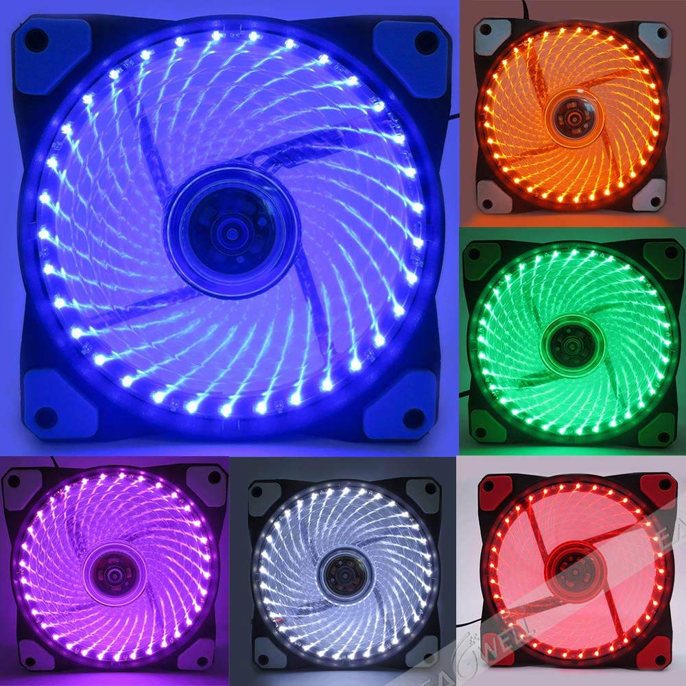 Colorful LED Light 12V 4Pin 12cm 120mm 120x120x25mm PC CPU Case Cooling Fan