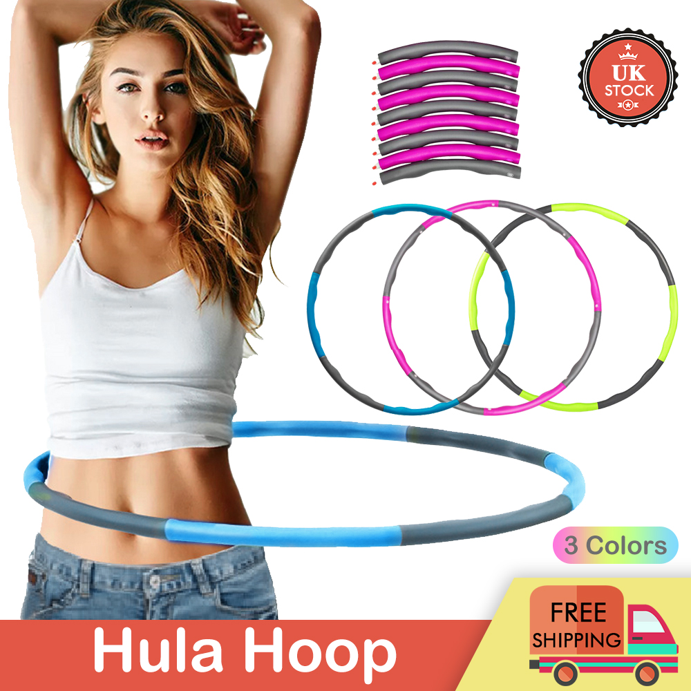 Collapsible Weighted Hula Hoop Gym Fitness Exercise Ring Soft /& Adjustable Adult