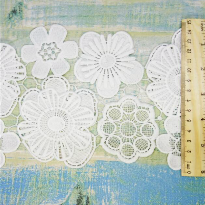 1 M Fleur Dentelle Brodée Bord Bordure ruban mariage Applique À faire soi-même Sewing Craft