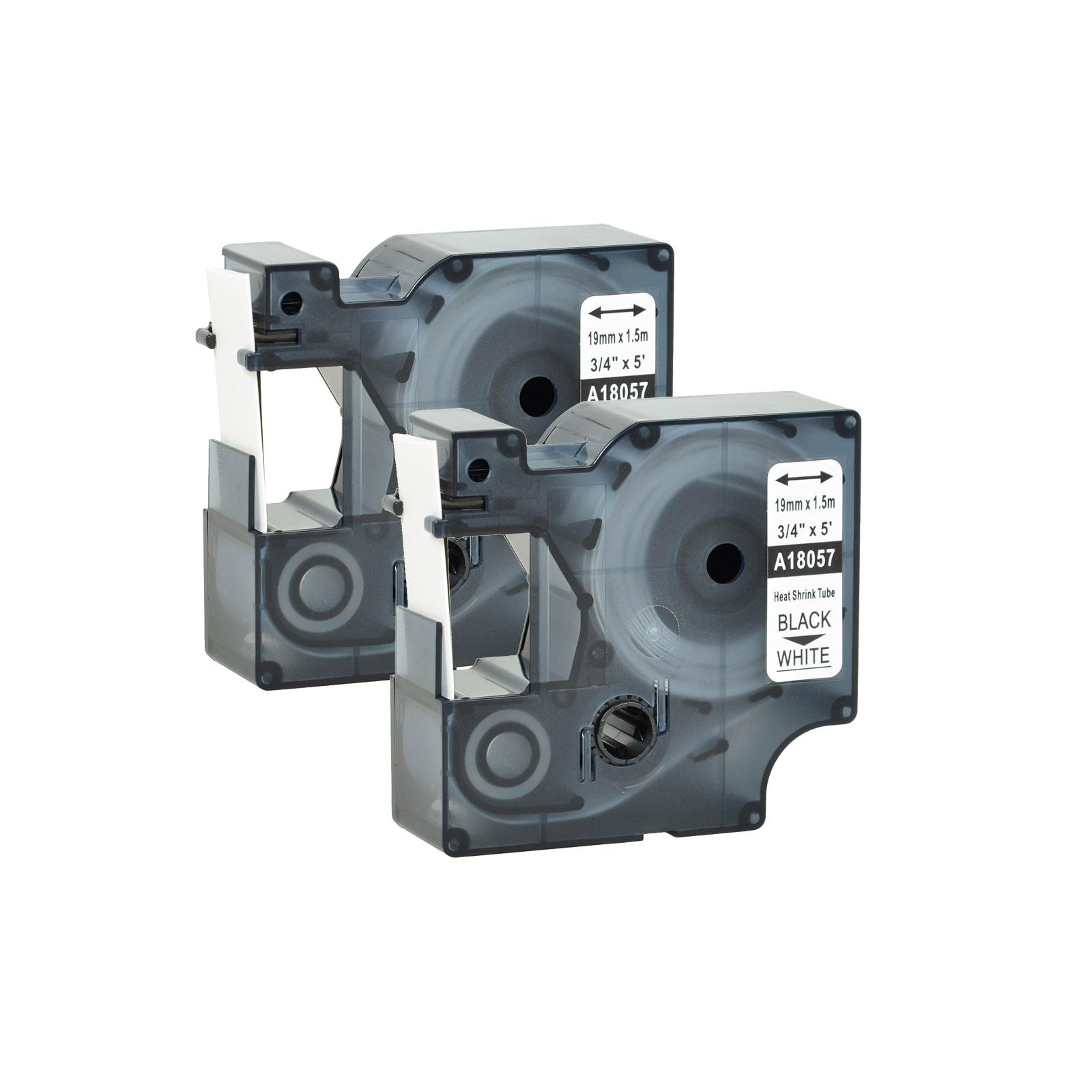 "2PK For DYMO Rhino 4200//5200 Heat-Shrink Tube 18057 Industry Label Tape 3//4/"" x5/'"