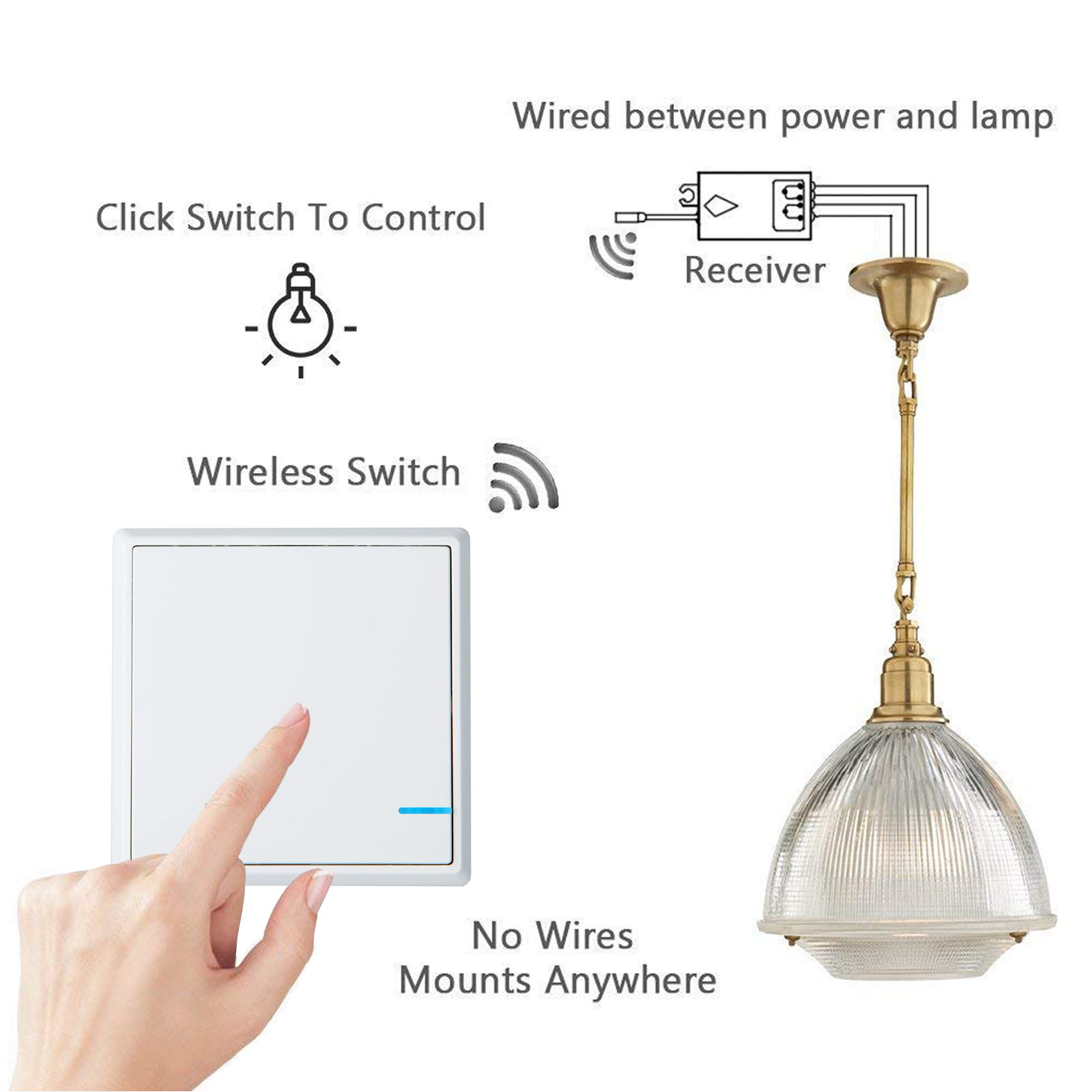 Wireless Smart Lamp Light Wall Switch Home 1 Way On Off Remote Wiring To Ceiling Control Kit