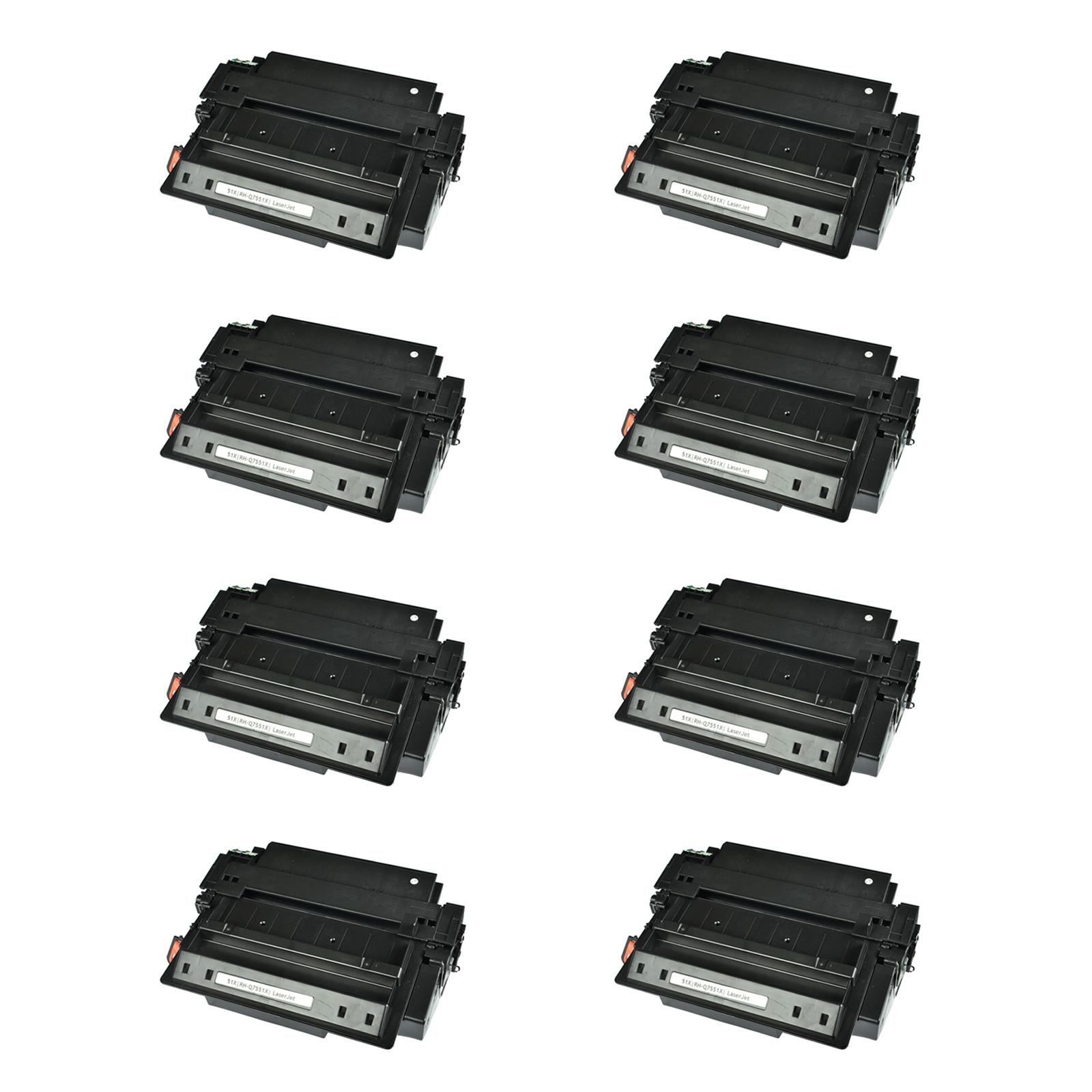 8PK Q7551X 51X Black Toner Cartridge For HP LaserJet P3005dn P3005n M3027 M3035