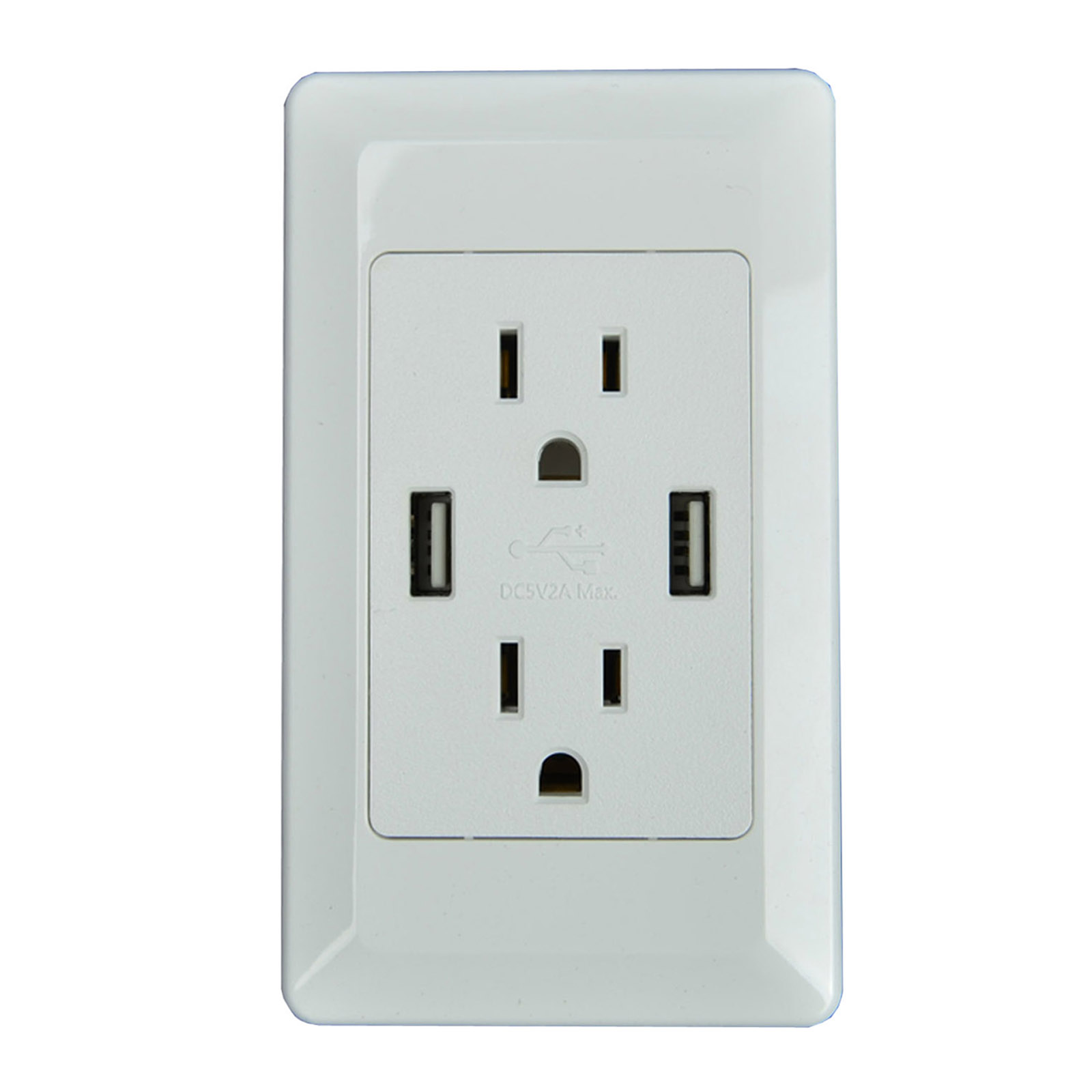ETL Listed! White USB Wall Outlet 5V 2A AC Power Outlet Standard US ...