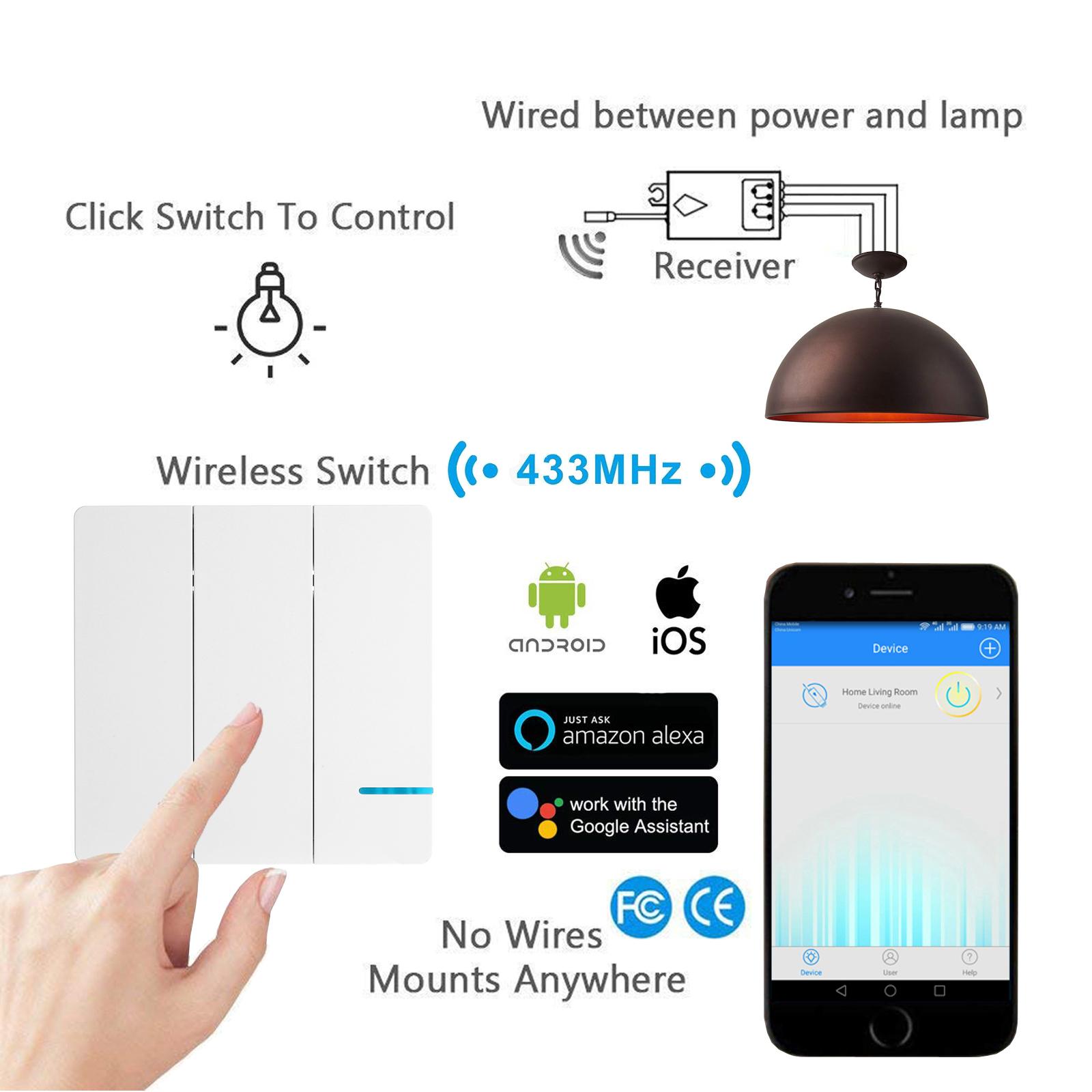 1x 3 Way Wireless 3x Wifi Receiver Remote Control Wall Switch Home How A Three Works Work W Alexa