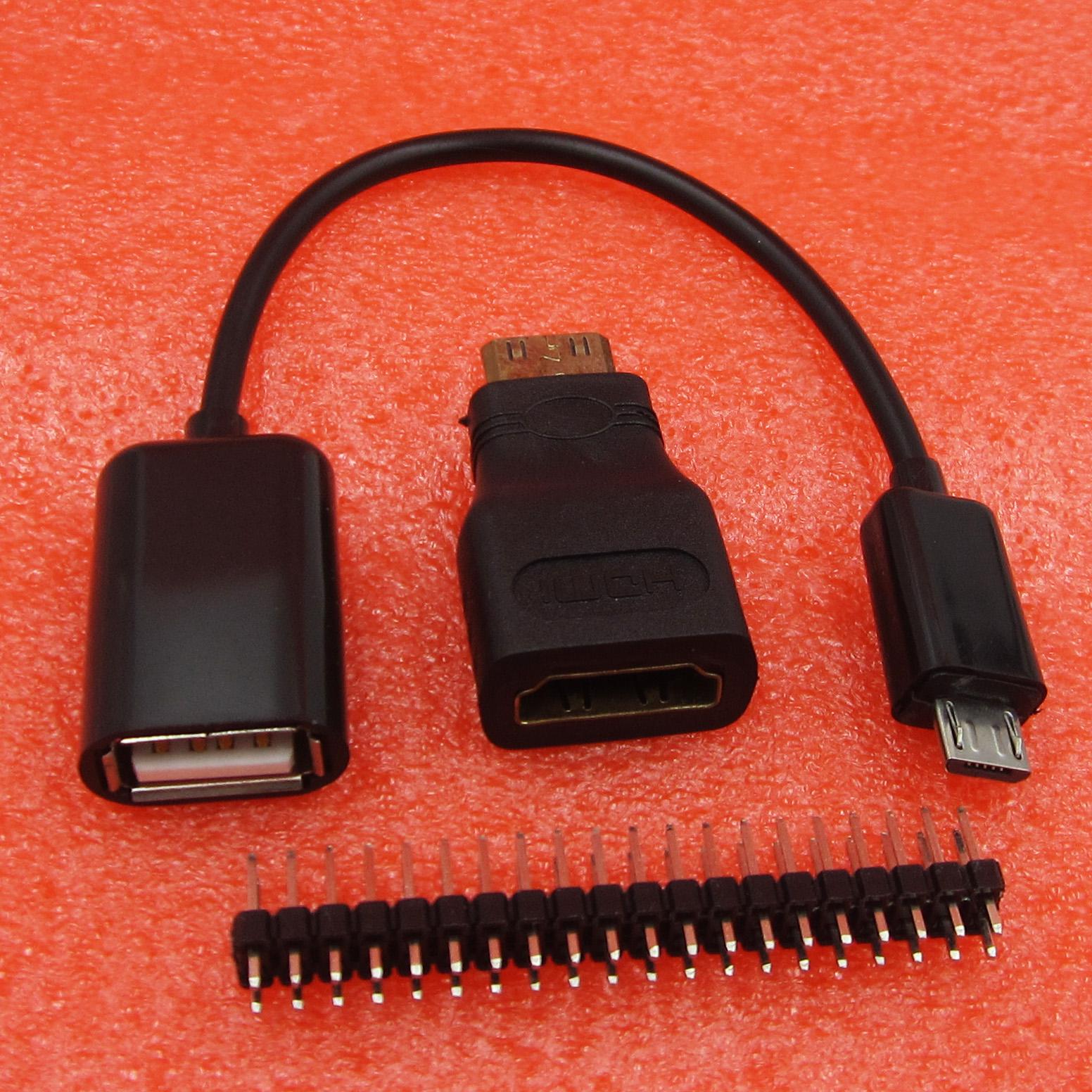 3 in 1 Raspberry PI Zero Kit Mini HDMI To HDMI Adapter+GPIO Header+Micro USB