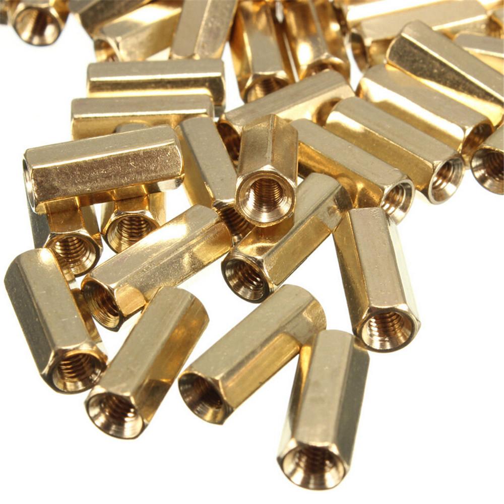 20pcs M3 Female Thread Brass PCB Standoff Hexagonal Spacer 12mm ASS