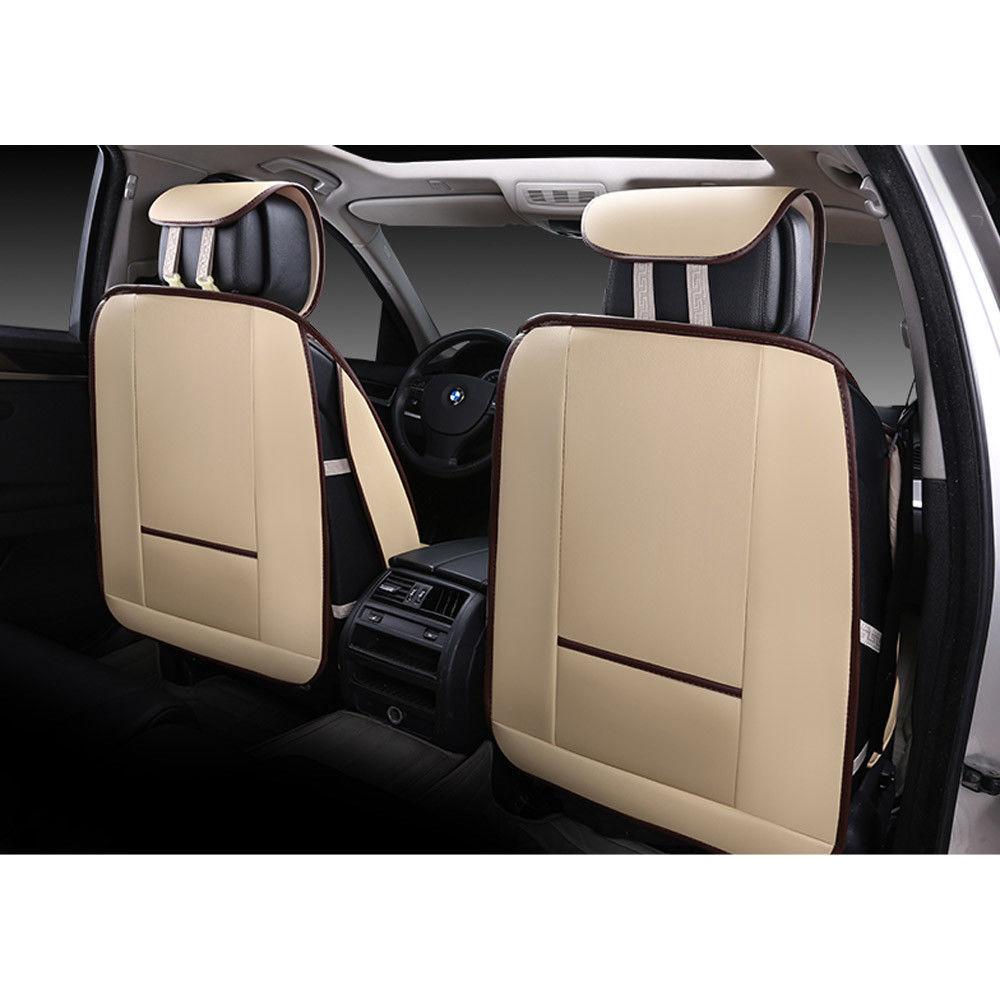universal auto 5 sitz sitzbez ge pu leder beige schonbezug. Black Bedroom Furniture Sets. Home Design Ideas
