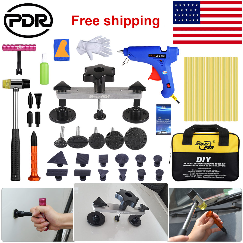PDR Car Dent Paintless Hail Repair Removal Tool Puller Lifter Glue Gun Stick Kit