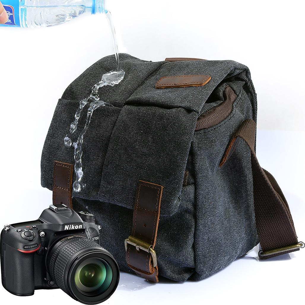 Kattee Borsa Tracolla per Fotocamera Reflex con Accessori Borsa Messenger Tela Custodia per Sony Canon Nikon Olympus