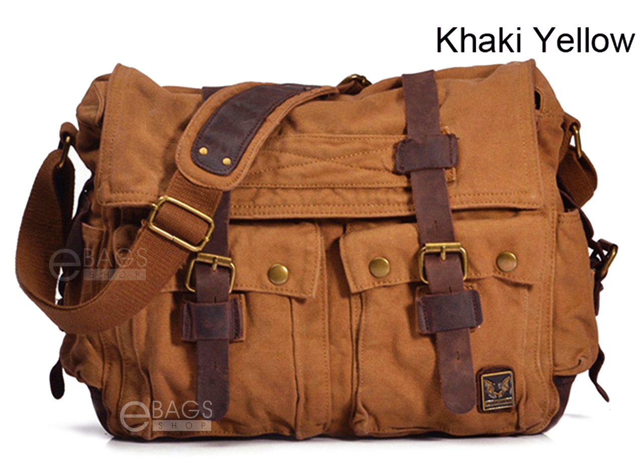 Men s Vintage Canvas Leather Military X-Large 15 Laptop Shoulder Messenger  Bag 065808557b701