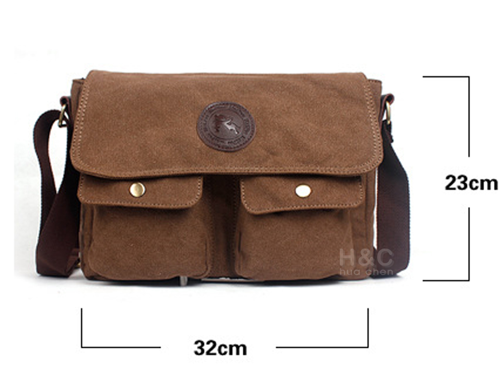 Men's Vintage Canvas Satchel School Military Shoulder Laptop ...