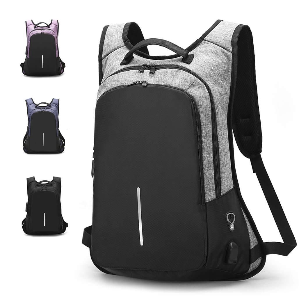 Men Women Anti-Theft External Travel Backpack Laptop USB Charge Port School Bag