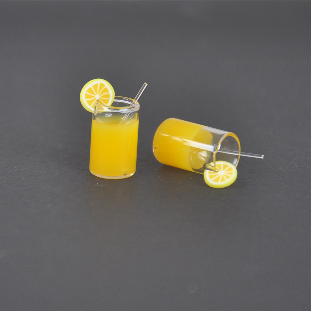1X Dollhouse Miniature 1//6 1//12 Toy Orange Juice Lemon Water Drink Cup Jam Decor