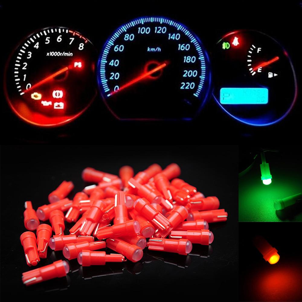 Lot 10//50//100Pcs T5 COB Car LED Dashboard Cluster Gauge Light Bulb 1SMD 6 Colors