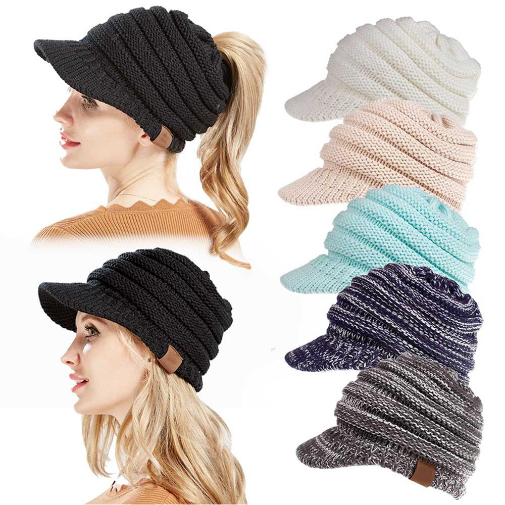 56ee0ad6a Women Fall Winter Knit Hat Sun Brim Beanie Cap With Ponytail Hole ...