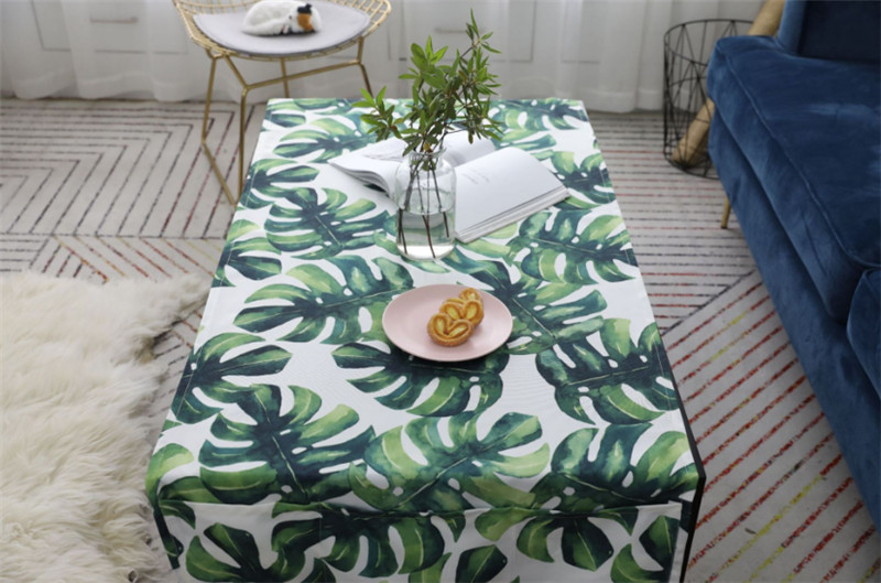 Polyester Cotton Pastoral Style Waterproof Tassel Side Table Cover Tablecloth