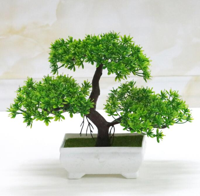 Bonsai Tree in Square Pot Artificial Plant Decoration for Office//Home 18cm