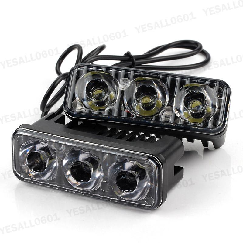 2x 1200lm 3 Led Car Auto Fog Drive Light Drl Daytime